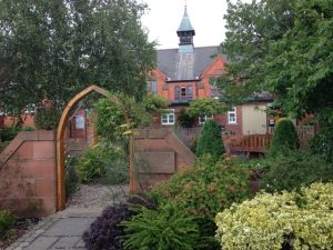 Arched gateway and gardens